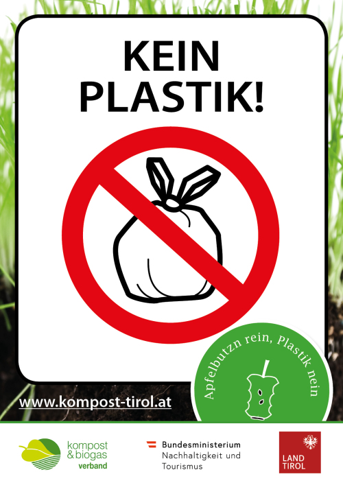 Grafik ARGE Kompost und Biogas Tirol / kein-plastik-kleber_a6-neu_web